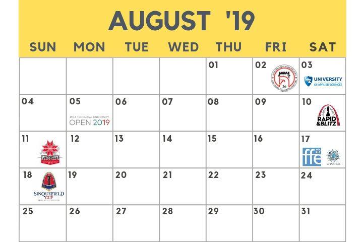 Manush Calendario.Calendario De Ajedrez Agosto De 2019 Chessbase