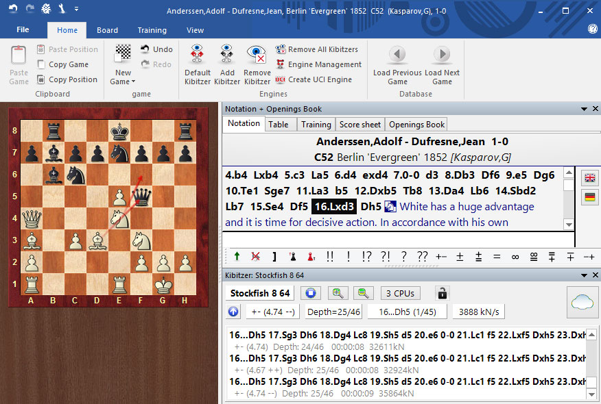 Example window of ChessBase reader