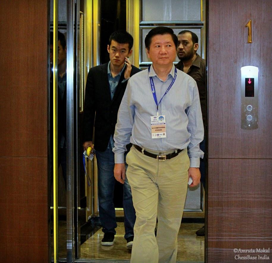 Ding Liren y Xu Jun | Foto: Amruta Mokal