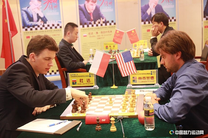 Jan-Krzysztof Duda during his game against Sam Shankland at the Danzhou Masters