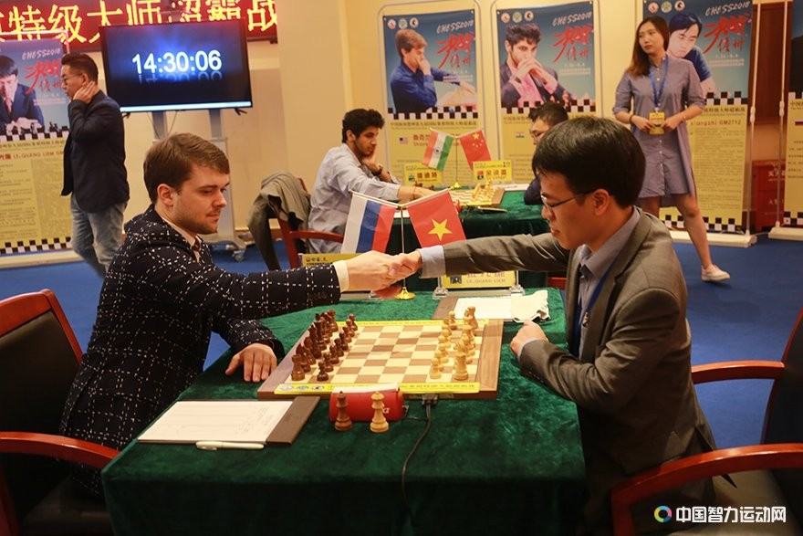 Vladimir Fedoseev during his fourth round game against Le Quang Liem at the Danzhou Masters