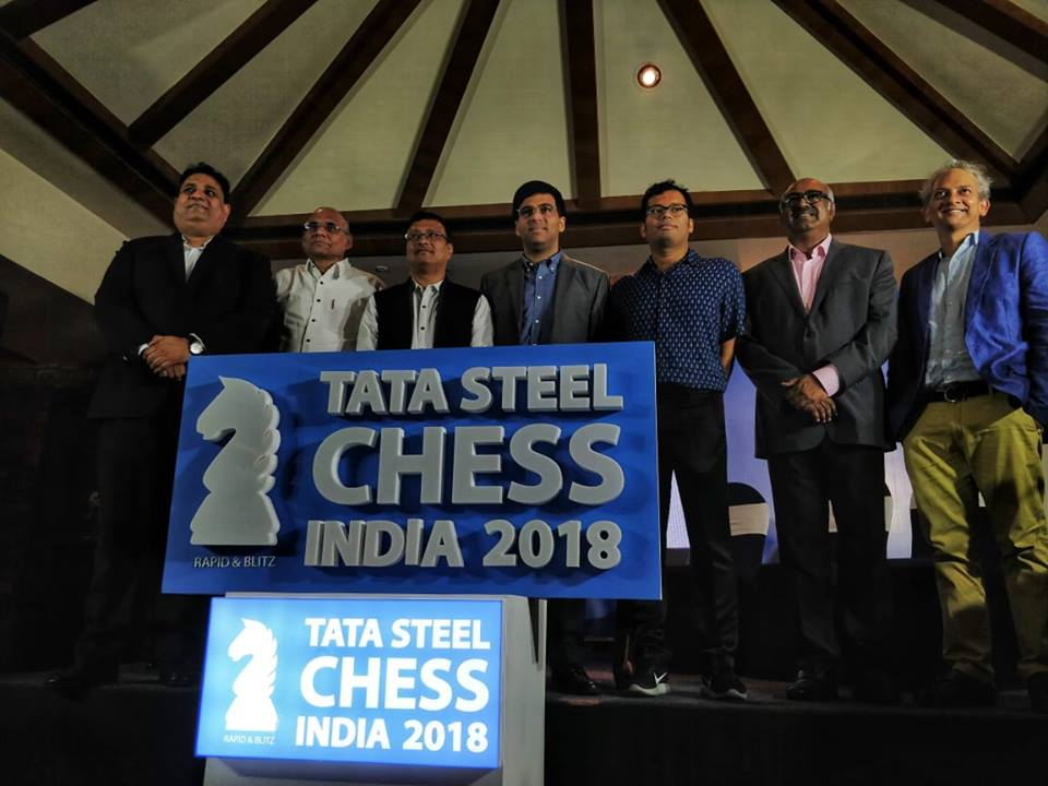 Dignitaries during the press conference of Tata Steel Chess India 2018