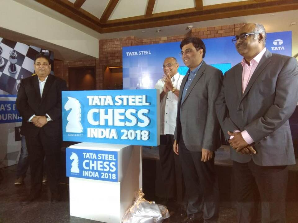 Viswanathan Anand during the press conference of Tata Steel Chess India 2018